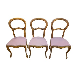 Set of Three Vintage French Louis Philippe Style Balloon Back Chairs Newly Upholstered Cabriole Legs Pink Velvet For Sale