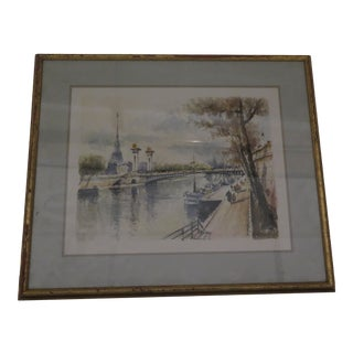 Original 1950s Parisian Watercolor of the Seine For Sale