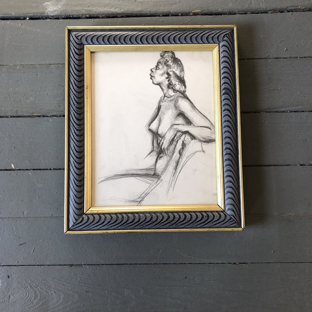 1950s Original Vintage Female Nude 1950's Charcoal Study Drawing Framed For Sale - Image 5 of 5