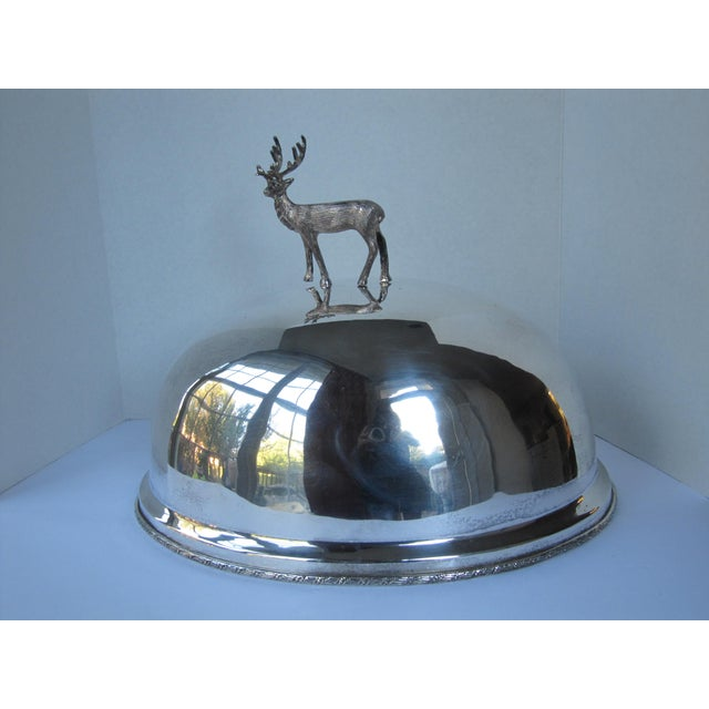 Silver-plate Meat Dome and Tray with Stag Handle For Sale - Image 5 of 10