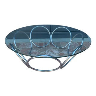 1970's Industrial Chrome and Glass Coffee Table For Sale