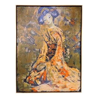 Vintage Jean Maio (1924-1987) Oil Painting on Canvas - Seated Japanese Lady in Kimono For Sale