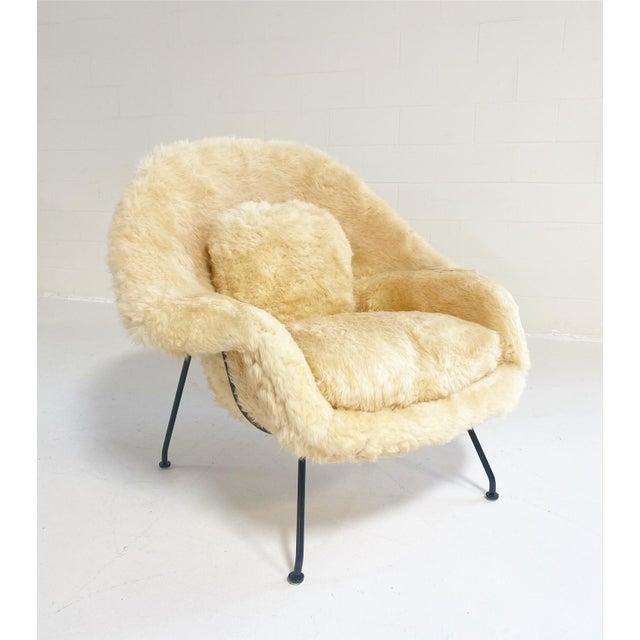 Vintage Eero Saarinen Womb Chair and Ottoman, Restored in Texas Sheepskin For Sale In Saint Louis - Image 6 of 8