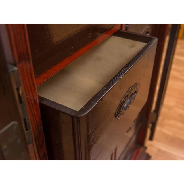 Red Meiji Period Japanese Ten-Drawer Cabinet For Sale - Image 8 of 10