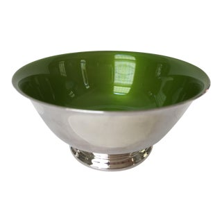 Mid-Century Reed & Barton Revere Bowl With Apple Green Enameled Interior For Sale
