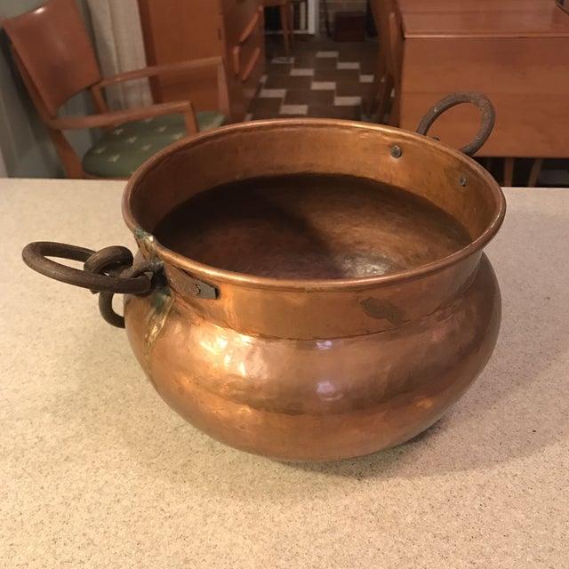 Copper Antique Copper Cauldron Planter For Sale - Image 7 of 11