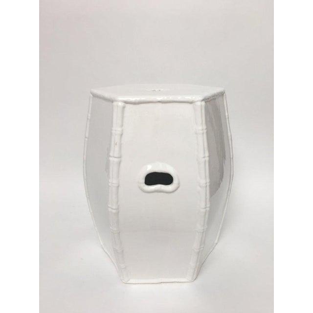 Paul Hanson Italian White Porcelain Garden Stool With Bamboo Motif For Sale - Image 13 of 13
