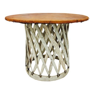 Vintage Rustic Leather Top Hurachi Table