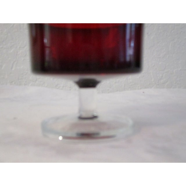 French Ruby Red Crystal Cavalier Coupes - Set of 11 For Sale - Image 5 of 6