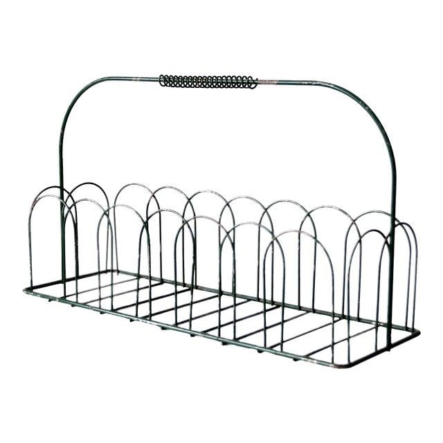 Vintage Wire Metal Handled Basket For Sale