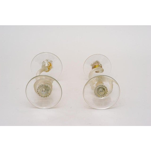Yellow Vintage Yellow Murano Candle Holders - a Pair For Sale - Image 8 of 13