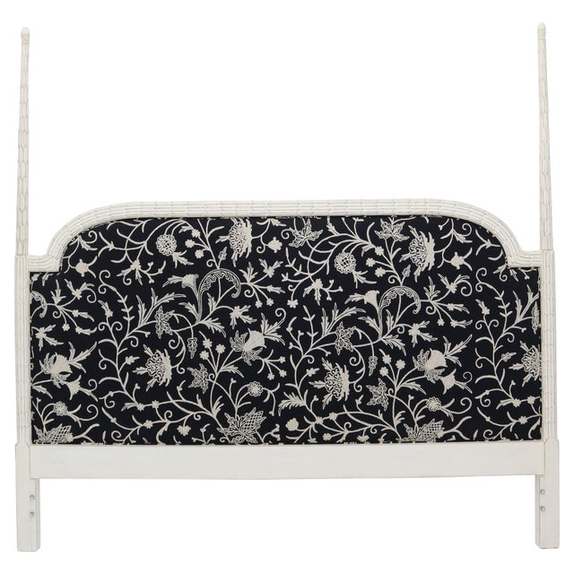 Upholstered Decorative Black and White Fabric King Size Poster Headboard For Sale - Image 12 of 12