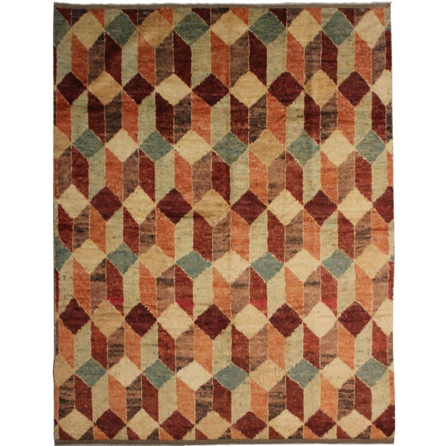 "Hand Knotted Modern Rug by Aara Rugs Inc. - 8'7"" X 7'5"" For Sale"