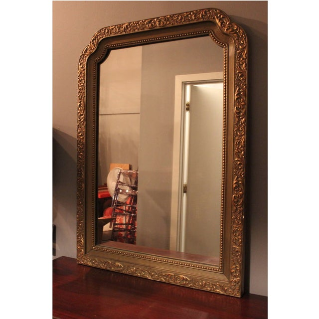 Gilt Polychrome Mirror. Beautifully carved and beaded detail. Great patina.