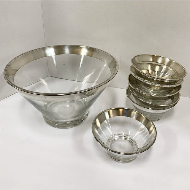 Silver 1960s Dorothy Thorpe Silver Rim Glass Salad Bowl Set - 7 Pieces For Sale - Image 8 of 8
