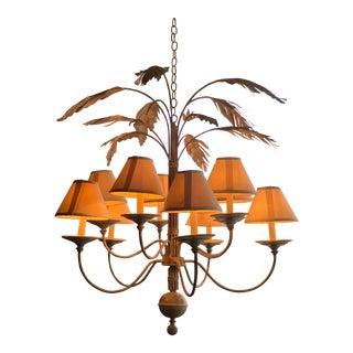 Vintage Palm Tree Frond Leaf Chandelier