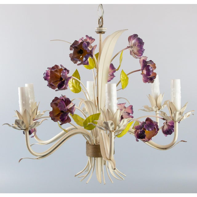 Vintage Mid-Century Italian Tole Poppies Six Arm Chandelier For Sale - Image 11 of 11