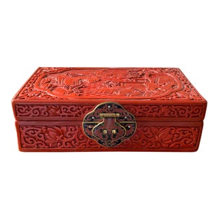 Old Cinnabar Asian Carved Jewelry Box - Turquoise Silk Interior For Sale