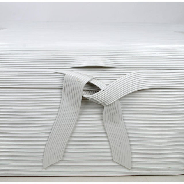 Bamboo and wood blanket chest attributed to Gabriella Crespi. Lacquered in white. Light wear to the finish inside.