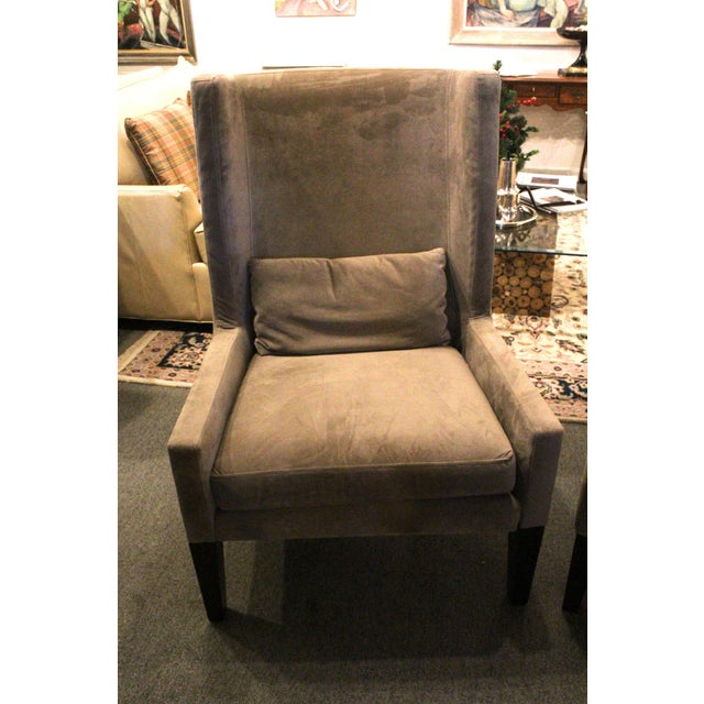 Contemporary Vintage Mid Century Plush Contemporary Wing Chairs- A Pair For Sale - Image 3 of 9