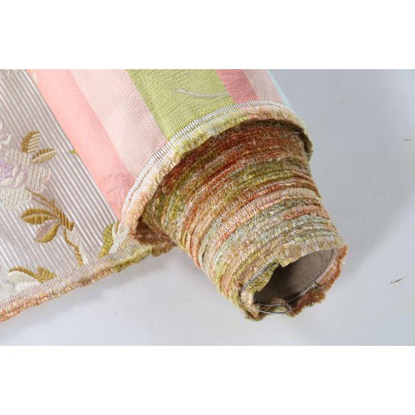 Roll of 7 Yards Heavy Floral Embroidered Silk Brocade Satin Upholstery Fabric - Image 7 of 9