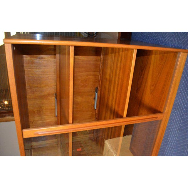 Storage Cabinet, Teak with Glass Doors, Wired for Electronics, Midcentury For Sale In Madison - Image 6 of 8