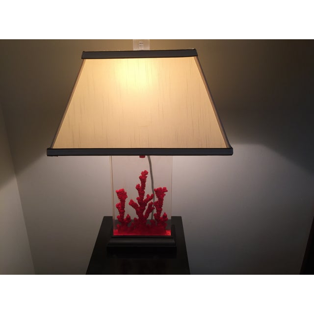 Lucite Red Coral Lamp - Image 4 of 9