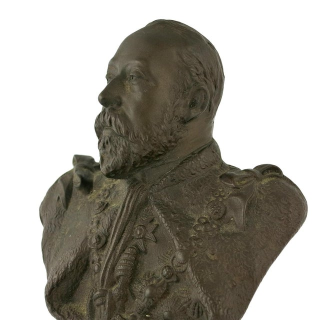 English Traditional Early 20th Century Vintage Edward VII & Alexandra of Denmark Bronze Portrait Busts- a Pair For Sale - Image 3 of 4