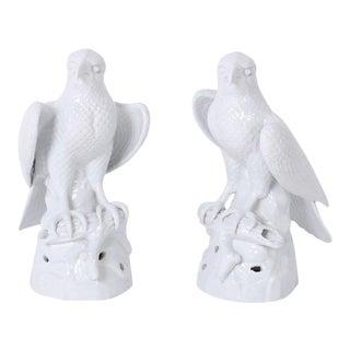 White Porcelain Birds - A Pair For Sale