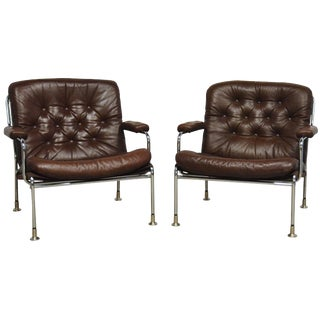 Swedish Chrome and Leather Armchair Attributed to Bruno Mathsson for Dux For Sale
