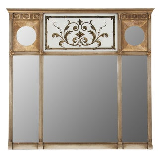 Regency Style Three Section Over Mantle Mirror For Sale