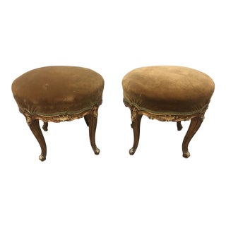 Pair of 19th C Venetian Gilt Wood Upholstered Footstools For Sale