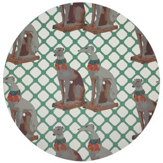 """Nicolette Mayer Regal Greyhound Marion 16"""" Round Pebble Placemats, Set of 4 For Sale"""