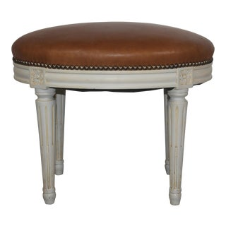Louis XVI Style Oval Leather Bench For Sale