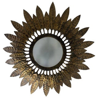 Flush Mounted Sunburst Ceiling Fixture With Leaves For Sale