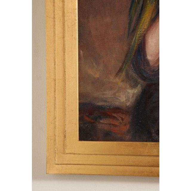 Canvas Art Deco Oil on Canvas by Pierre Mitiffiot De Bélair For Sale - Image 7 of 9