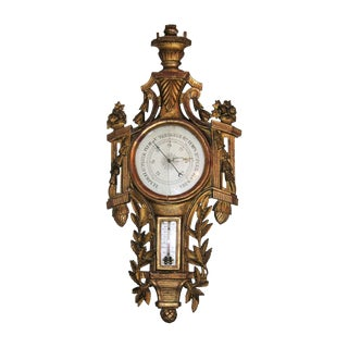 18th Century French Gilt Wood Barometer For Sale