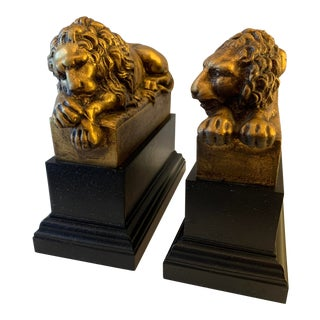 "Vintage Gilt ""Borghese"" Lion Bookends - a Pair For Sale"