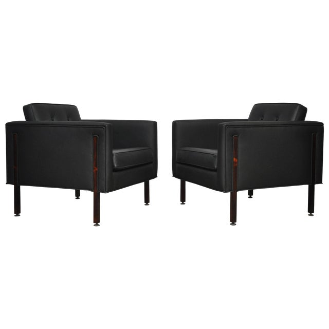 Terrific Harvey Probber Rosewood And Black Leather Club Chairs Interior Design Ideas Gentotryabchikinfo