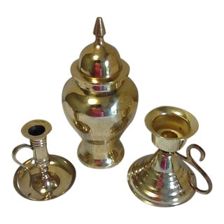 Late 20th Century Vintage Brass Ginger Jar & Candleholders - Set of 3 For Sale