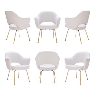 Saarinen Executive Arm Chairs in Dove Ultrasuede, 24k Gold Edition - Set of 6