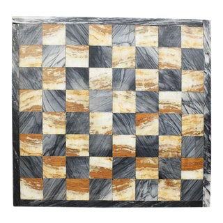 Square Cutting Board, Checker or Chess Game Board in Black and Pink Marble For Sale