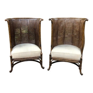 Maitland Smith Double Cane British Colonial High Back Occasional Chairs- a Pair For Sale