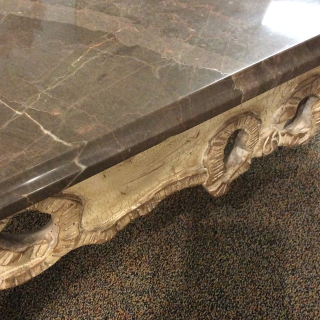 Smoked Gray Marble Top French Coffee Table For Sale - Image 5 of 5