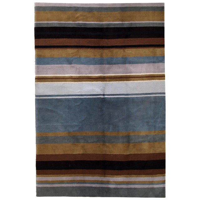 1980s handmade vintage Indian Modern rug 5.6' x 7.9' For Sale