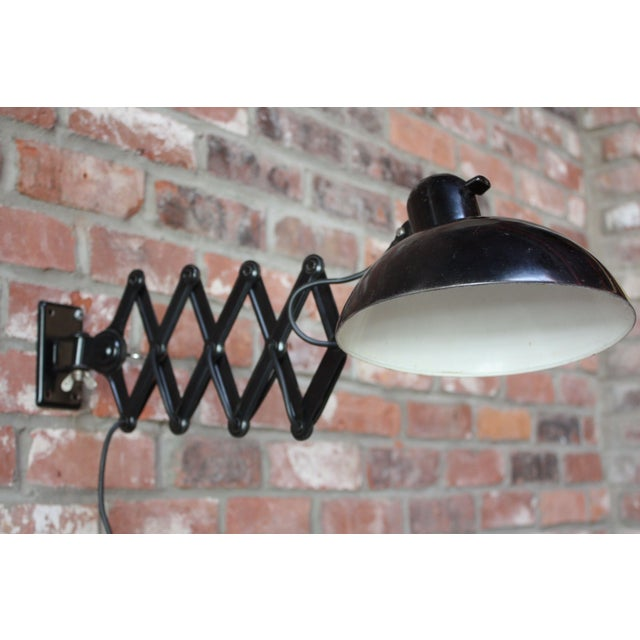 1930s Industrial / Bauhaus style Christian Dell for Kaiser Idell 'accordion' lamp with adjustable and extendable shade...