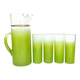 1950's Vintage Blendo Lime Green Glassware and Pitcher Barware Set- 5 Pieces