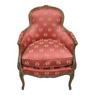 Early 20th Century Antique French Country Louis XV Style Walnut Bergere Arm Chair For Sale