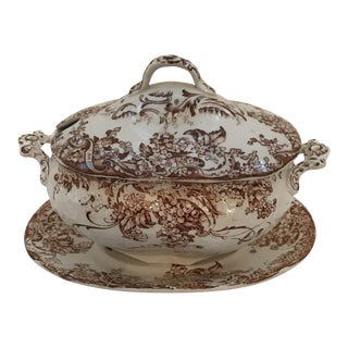1920s Vintage Crimwades Limited Stoke on Trent Covered Tureen & Platter - 3 Pieces
