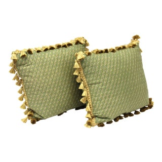 Vintage Drawing Room Pillows With Tassel Border For Sale